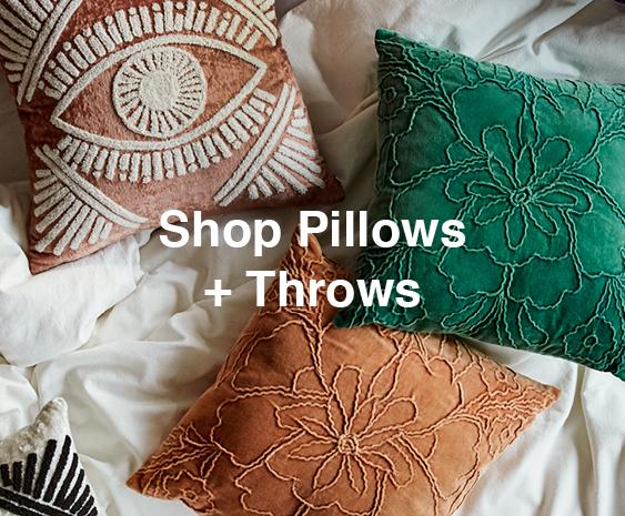 Shop Bedding Sets · Shop Pillows + Throws