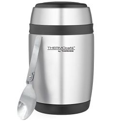 Thermos Curved Stainless Steel Food Flask with Spoon, 400 ml