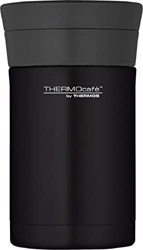 Thermos ThermoCafé Stainless Steel Food Flask with Spoon, 500 ml (Black)