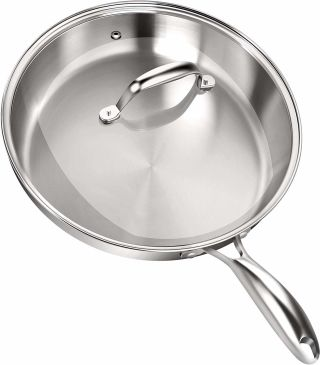 Utopia Kitchen Stainless Steel Skillet with Glass Cover