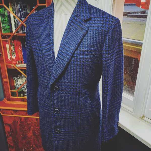 blue checked coat