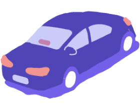 Lyft Lux car illustration with an Amp in the windshield