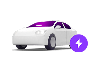 Lyft illustration of Lyft car with Amp and Priority Pickup lightening bolt icon