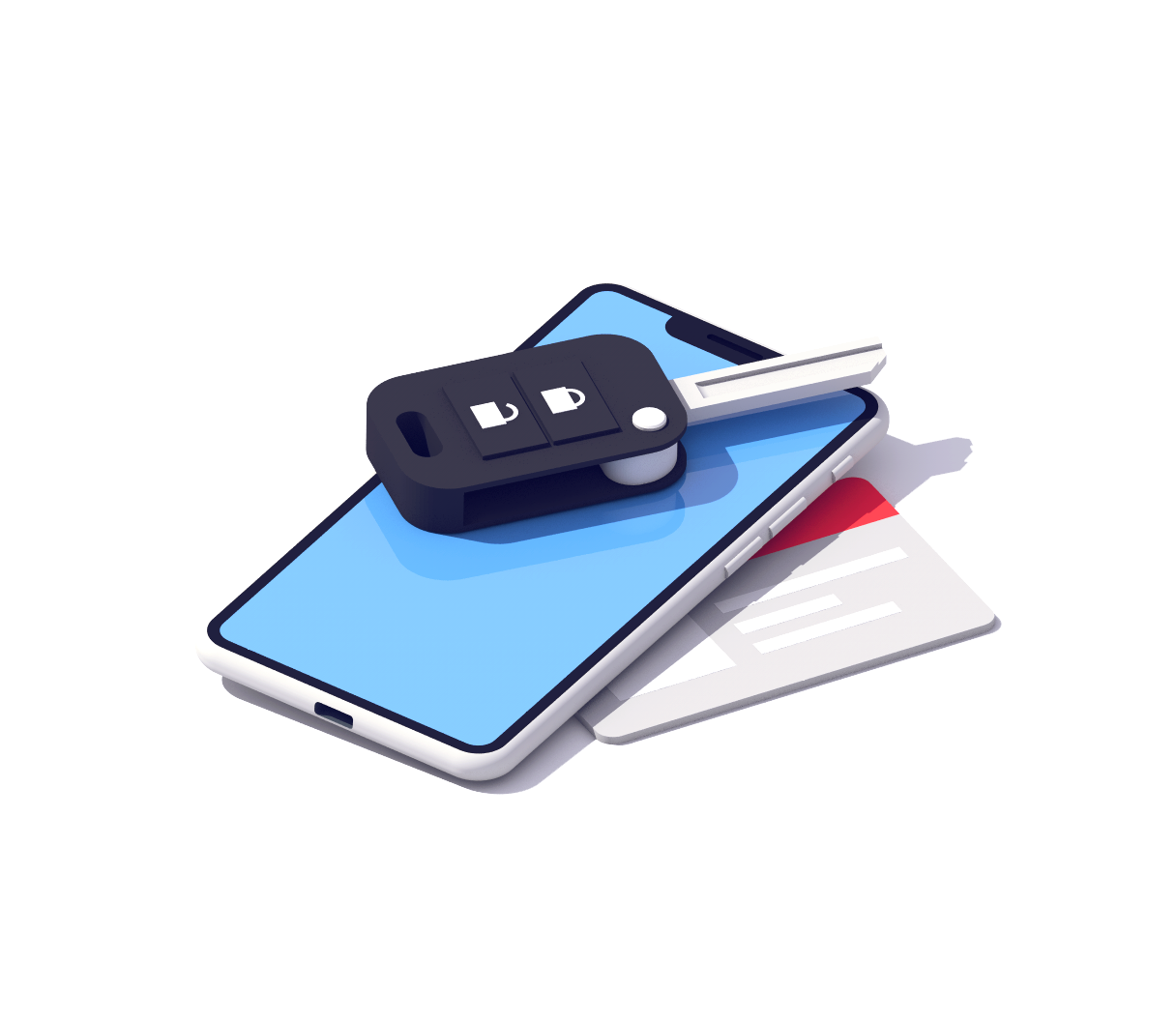 iPhone, car key, and credit card illustration