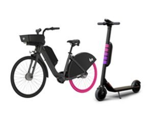 Lyft Bikes and Lyft Scooters illustration