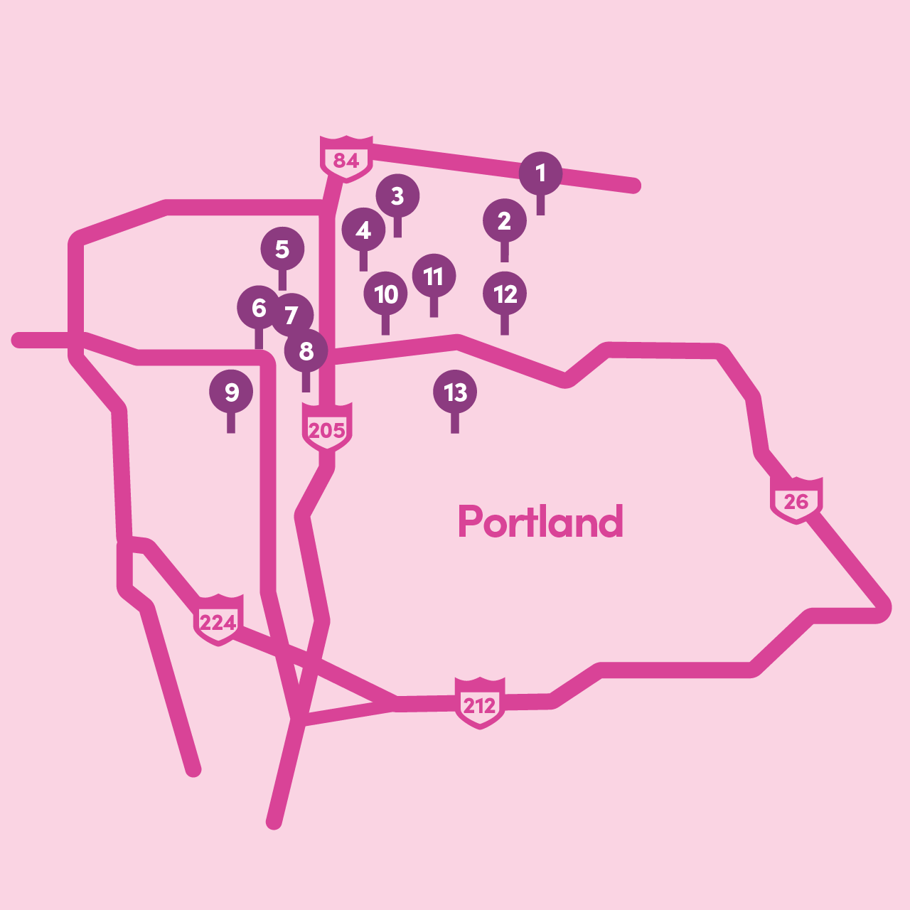 Lyft Grocery Access: Map of participating Portland locations