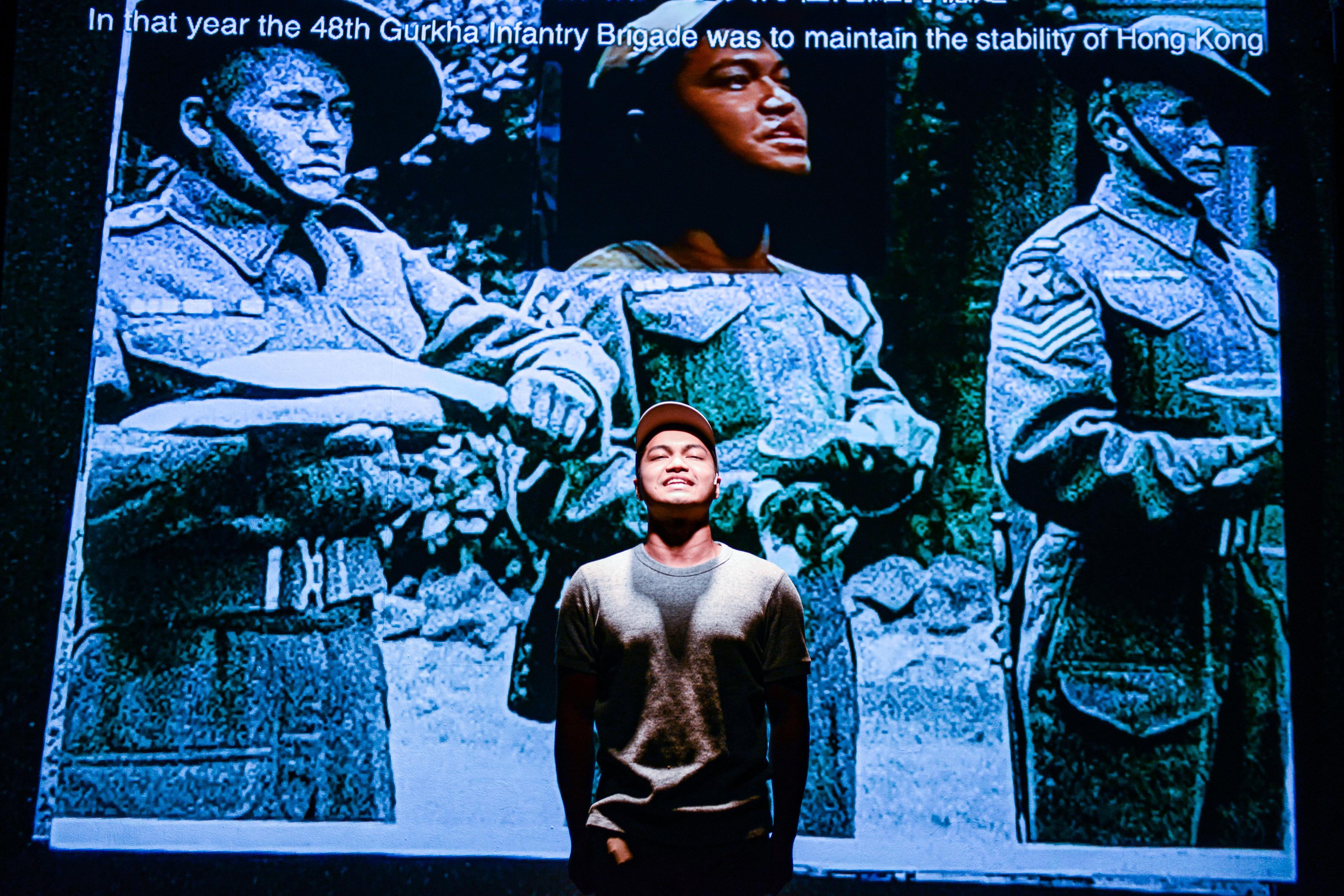 請說出啹喀兵的歷史/人物:Basnet Tusar/類別:演出、《山下的證詞》/攝影:Fung Wai Sun/(天台製作 • 香港專業劇團)