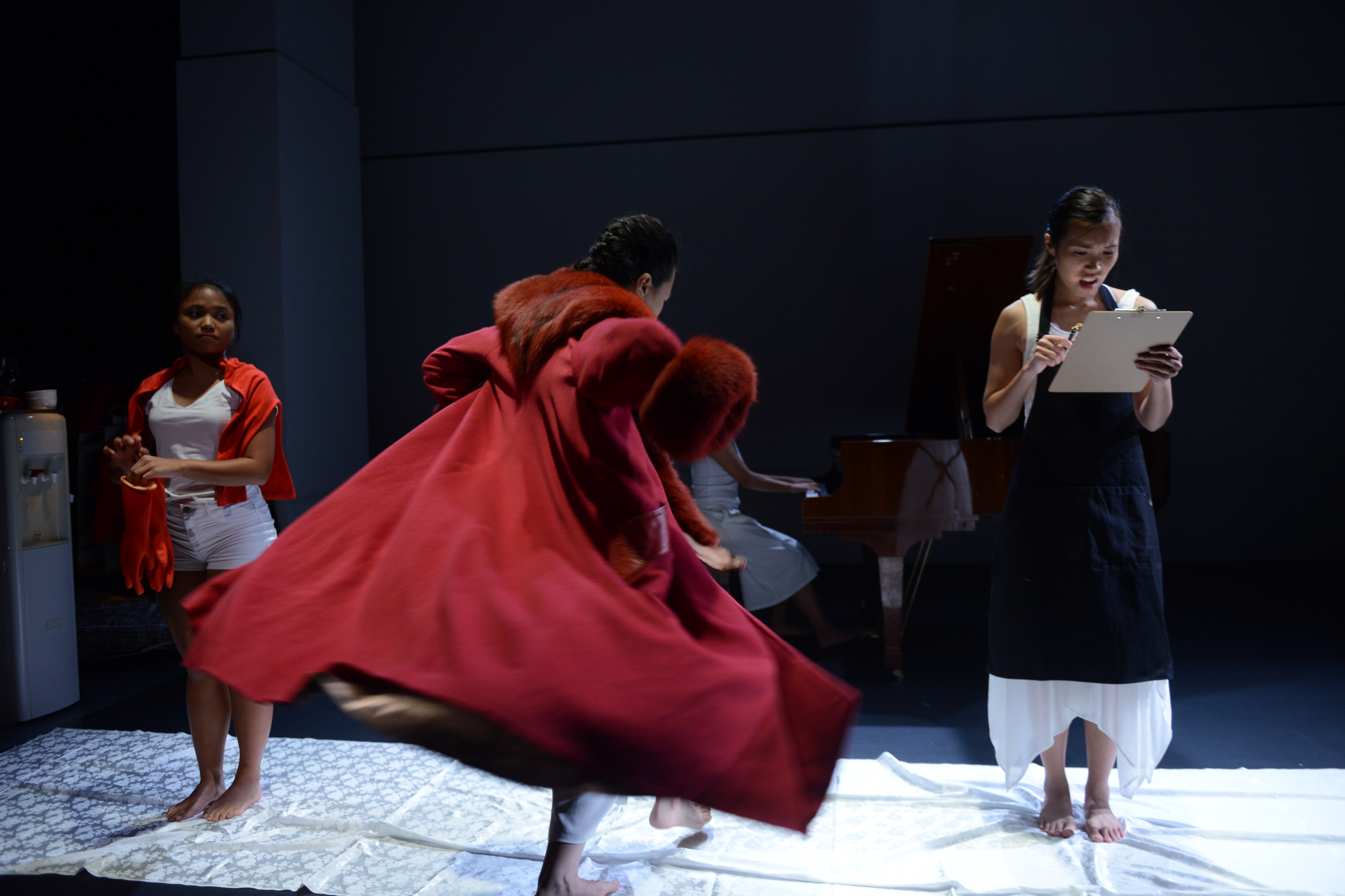Prisoners were brought to the mock prisonand went through the full booking procedure. | Featuring: Isabella Leung, Russell Terre Aranza | Tagged as: Not The Maids, Show | Photo: Fung Wai Sun |  (Rooftop Productions • Hong Kong Theatre Company)