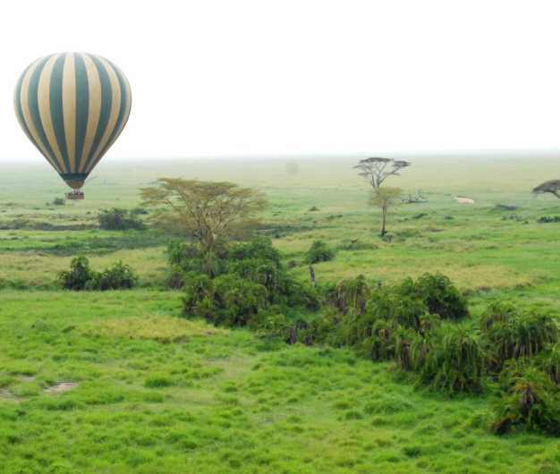 A majestic balloon in its voyage over the endless plains of Serengeti National Park