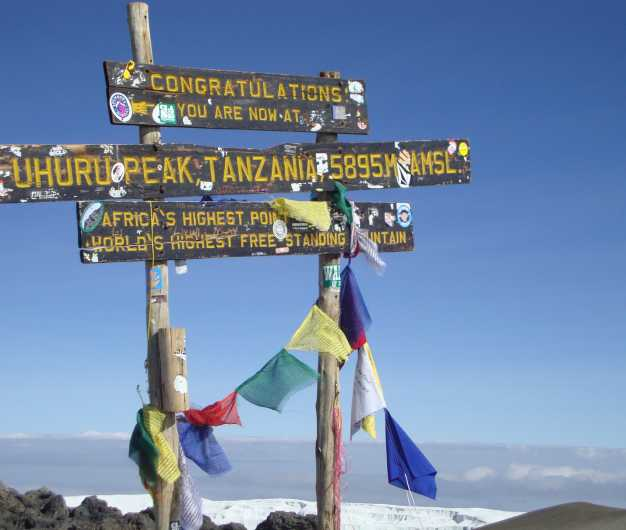 The highest point of Africa at 5895 meters above sea level - Uhuru Peak