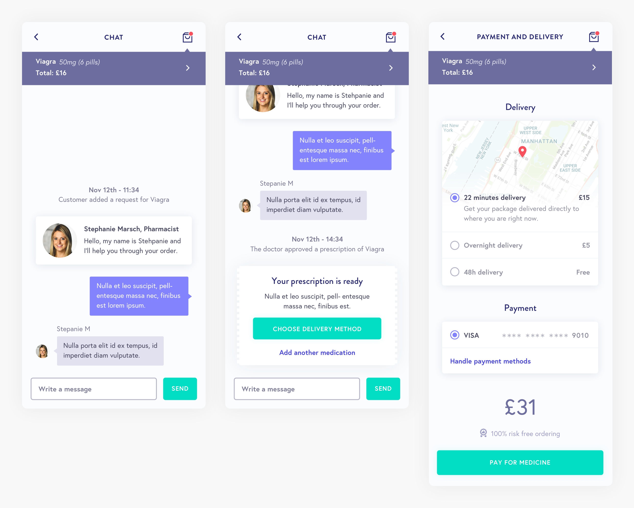 Ubermeds chat and payment