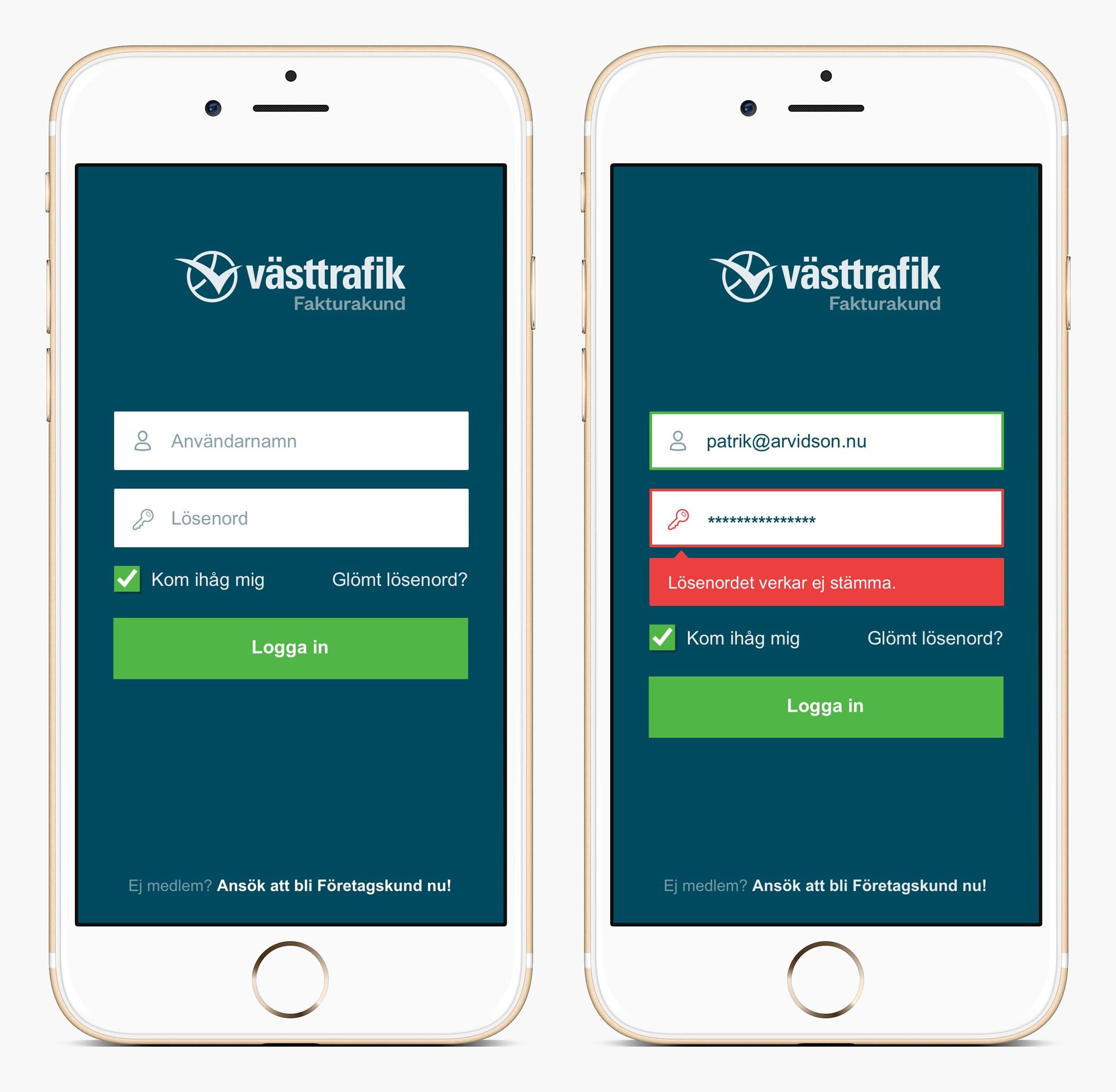 Västtrafik Portal mobile login