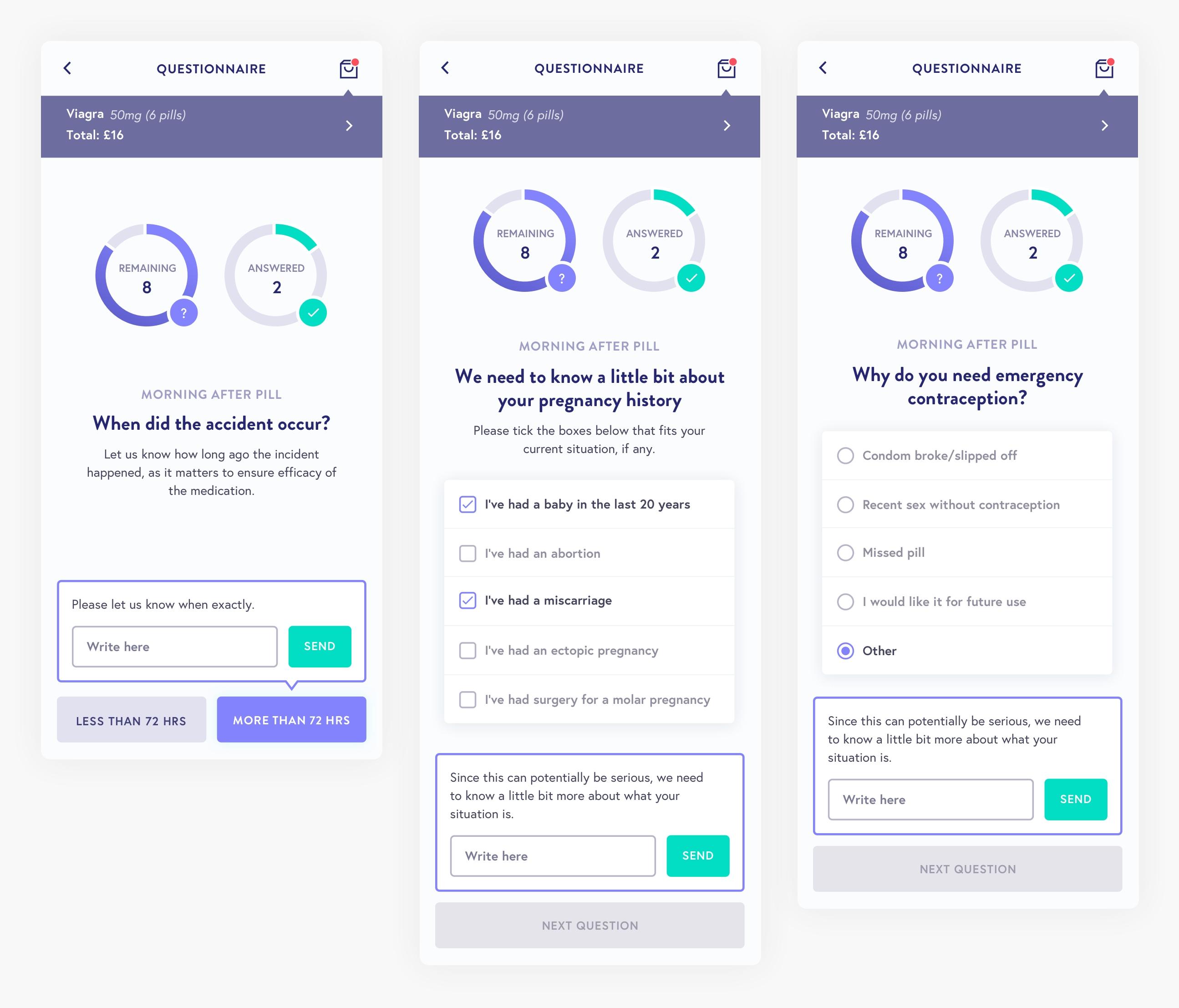 Ubermeds consultation screens