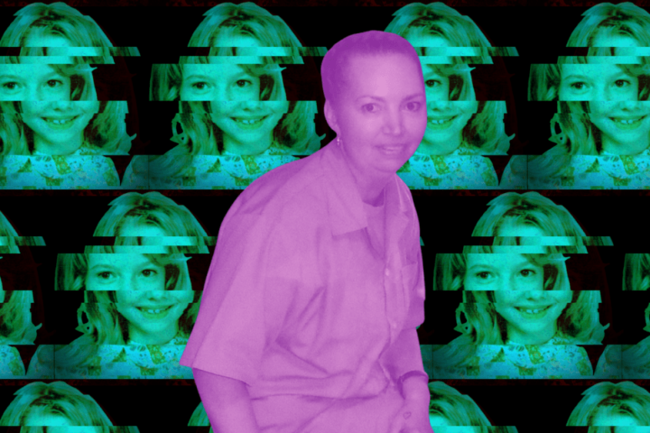 An adult Lisa Montgomery stands, superimposed over a background showing a distorted photo of her from childhood.
