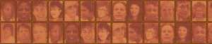 Two rows of photographs of the faces of women who have been executed in the United States since 1976.