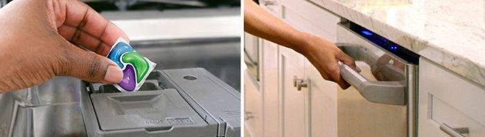 Placing Cascade Platinum dishwasher pod before running dishwasher