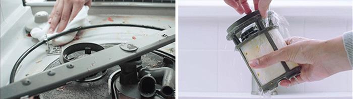 Cleaning dishwasher arm and soils at bottom of dishwasher