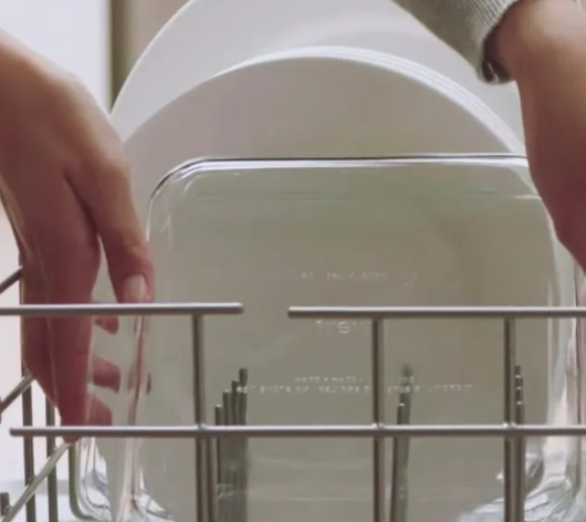 Sparkling clean glassware  without water spots after dishwashing cycle
