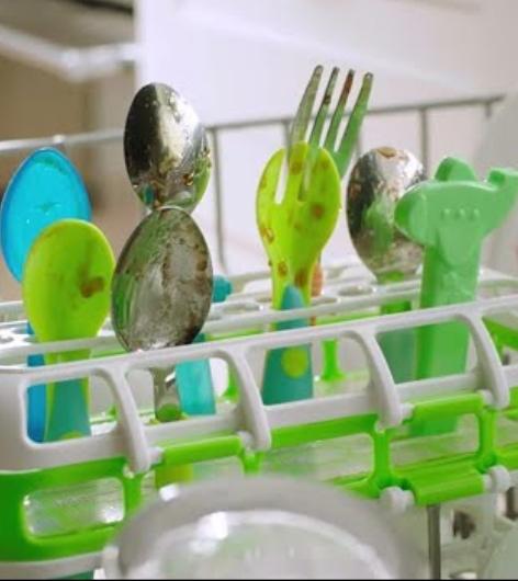 Dirty children's utensils