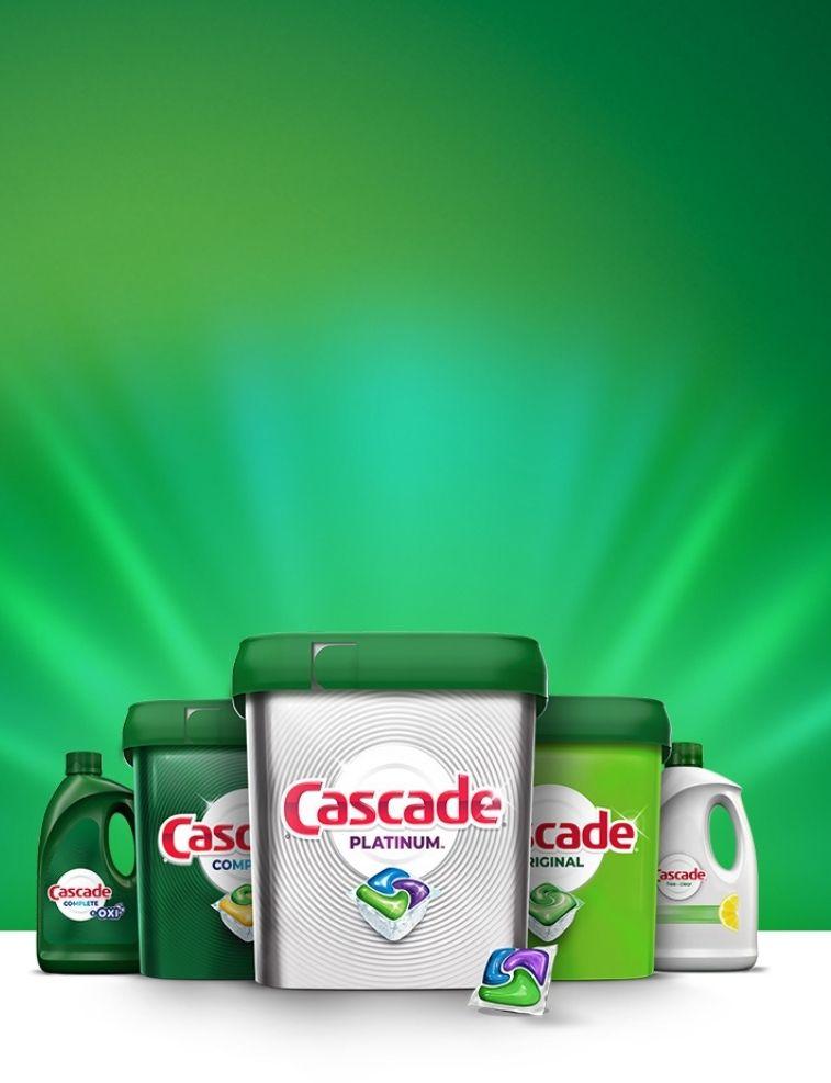 Cascade Complete, Cascade Original, Cascade Platinum, Cascade Free & Clear dish detergent