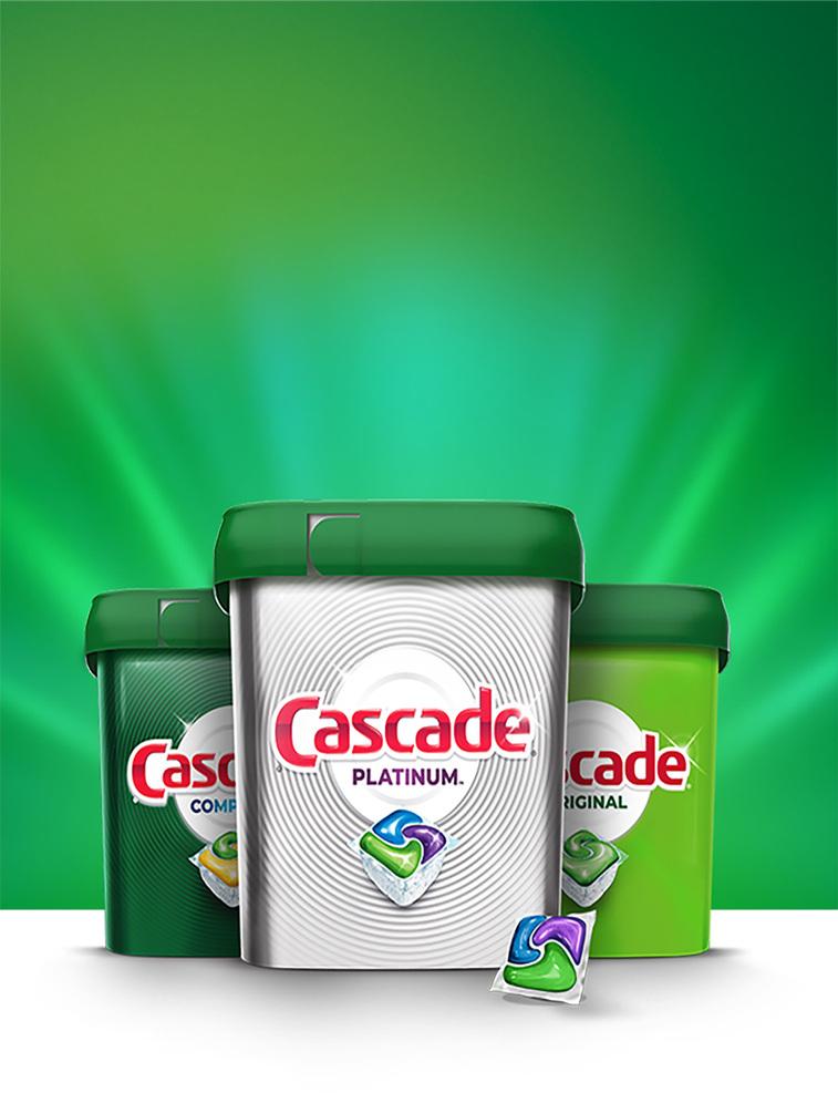 Cascade dishwasher pods in Cascade Complete, Cascade Platinum, and Cascade Original