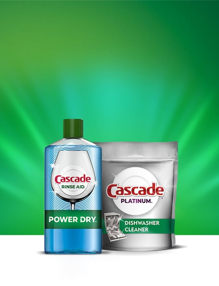 Cascade additives drying rinse agent and dishwasher cleaner