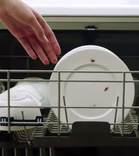 Placing dirty plates into dishwasher