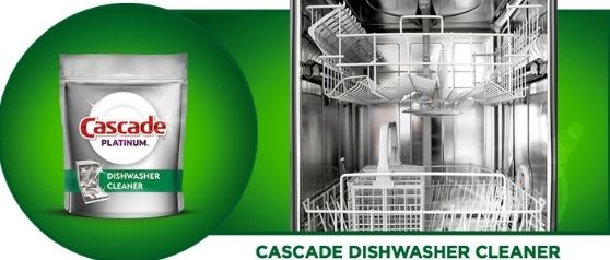 Cascade Dishwasher Cleaner with sparkling clean open dishwasher