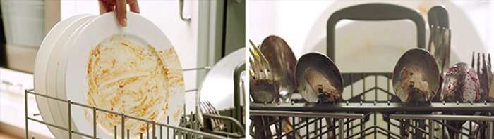 Dirty plate and utensils loaded inside bottom rack and dishwasher basket