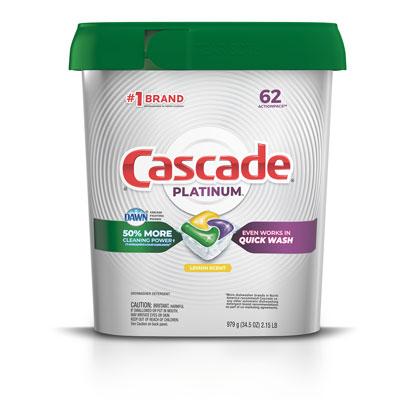 Cascade Platinum 62 pack dishwasher pod lemon scent container