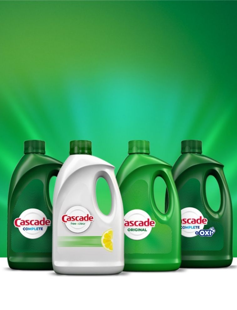 Cascade Complete, Cascade Free & Clear, Cascade Original gel dishwashing detergent
