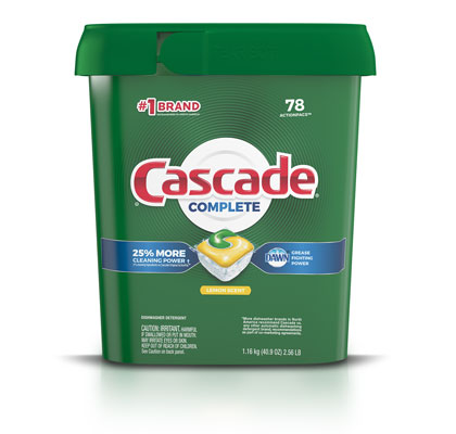Cascade Complete dishwasher pod 78 pack lemon scent container