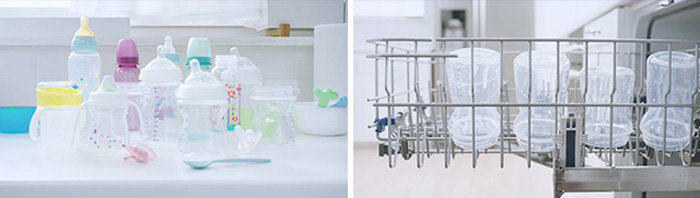 Securing baby bottles in dishwasher to properly wash