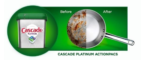 Cascade Platinum before and after cleaning a pan