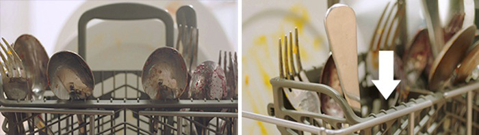 Dirty silverware and cutlery in dishwasher