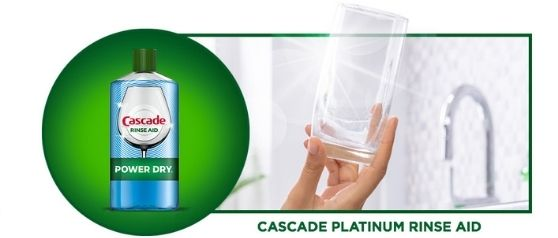 Cascade Platinum Rinse Aid with clear glassware