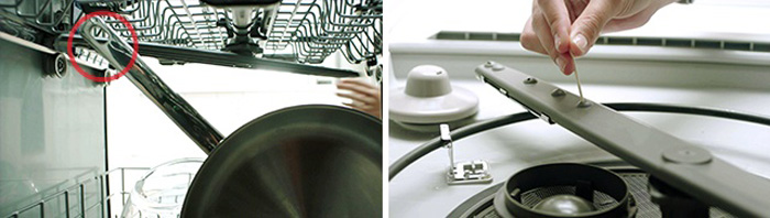 Checking dishwasher spray arms for obstructions