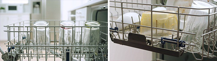 Loading glass dishware and dirty plastic containers in top rack of dishwasher