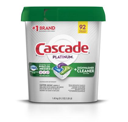 Cascade Platinum dishwasher pods fresh scent 92 pack container
