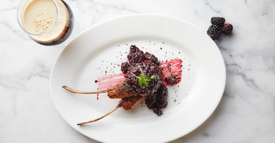 Espresso-Encrusted Lamb with Stout Blackberry Chutney Recipe Primary Image