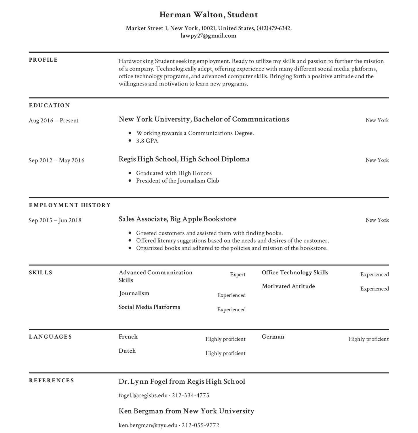 How To Build A Student Resume With Examples
