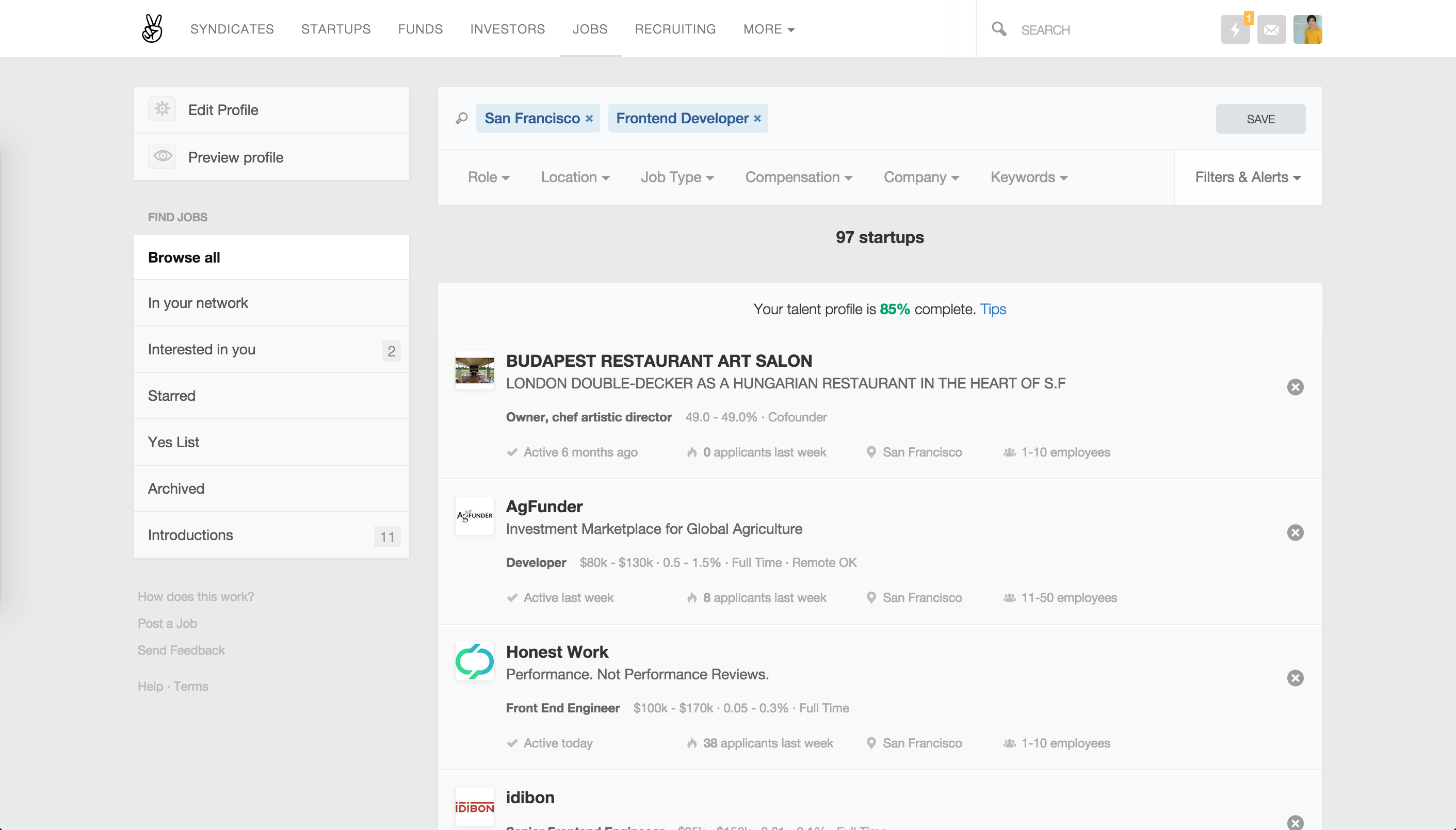 Angellist job search