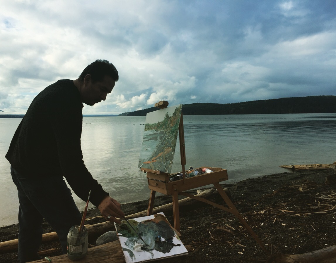 Be painting on the shores of Sointula