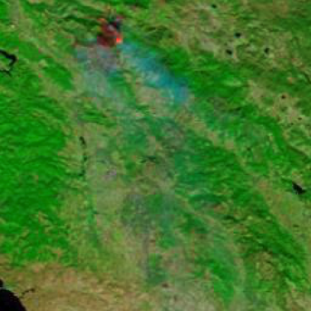 MODIS satellite imagery of the Kincade Fire taken on 25–10–2019. (Source: UP42)