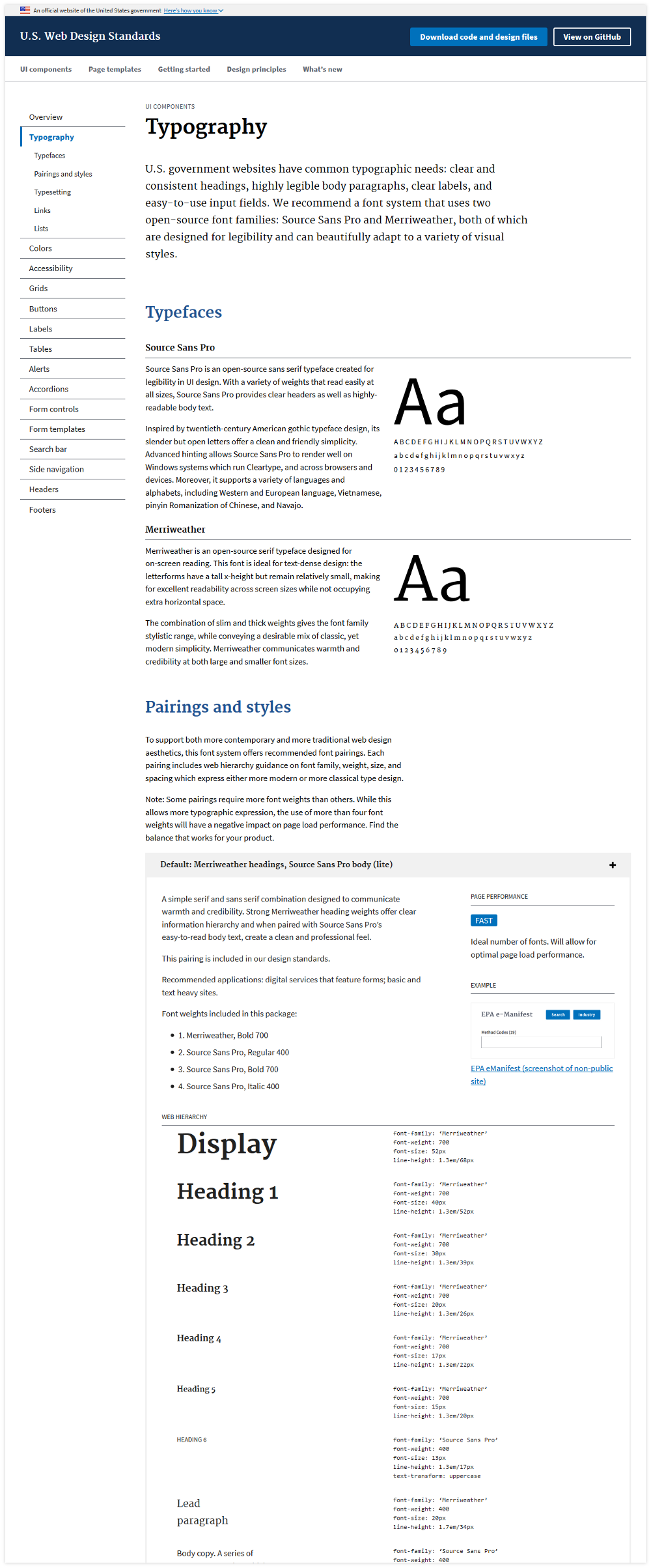 codeblick DigitalerStyleguide Typography Beispiele