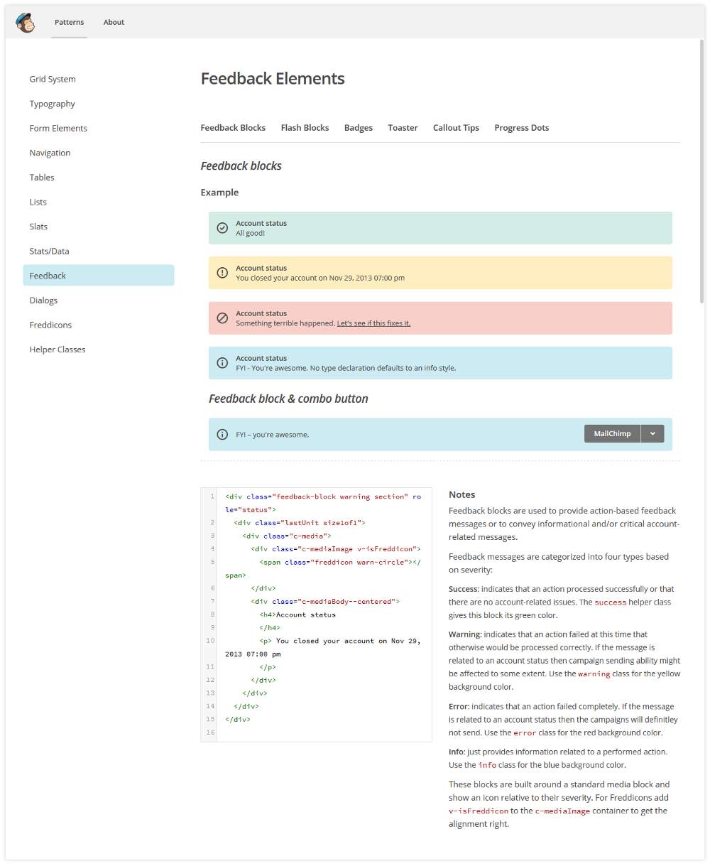 codeblick DigitalerStyleguide Feedback Elements