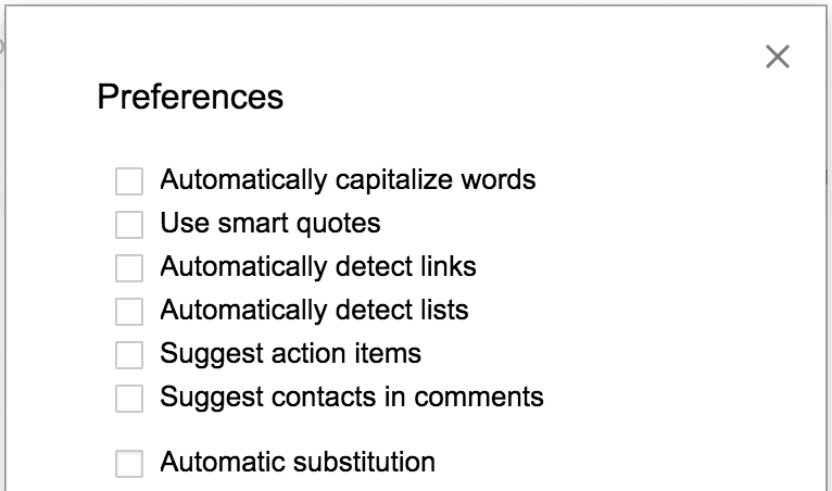 Google Doc preferences options