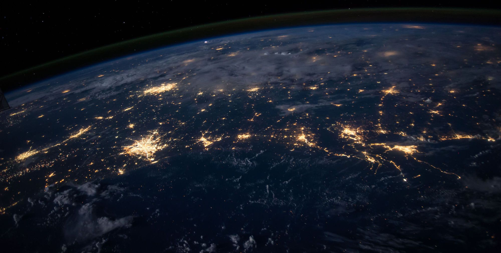 View from space with city lights