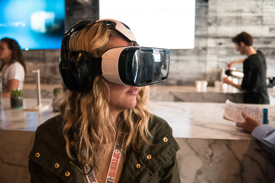 Woman Using a Samsung VR Headset at SXSW 2015 (2015-03-15 14.10.24 by Nan Palmero)