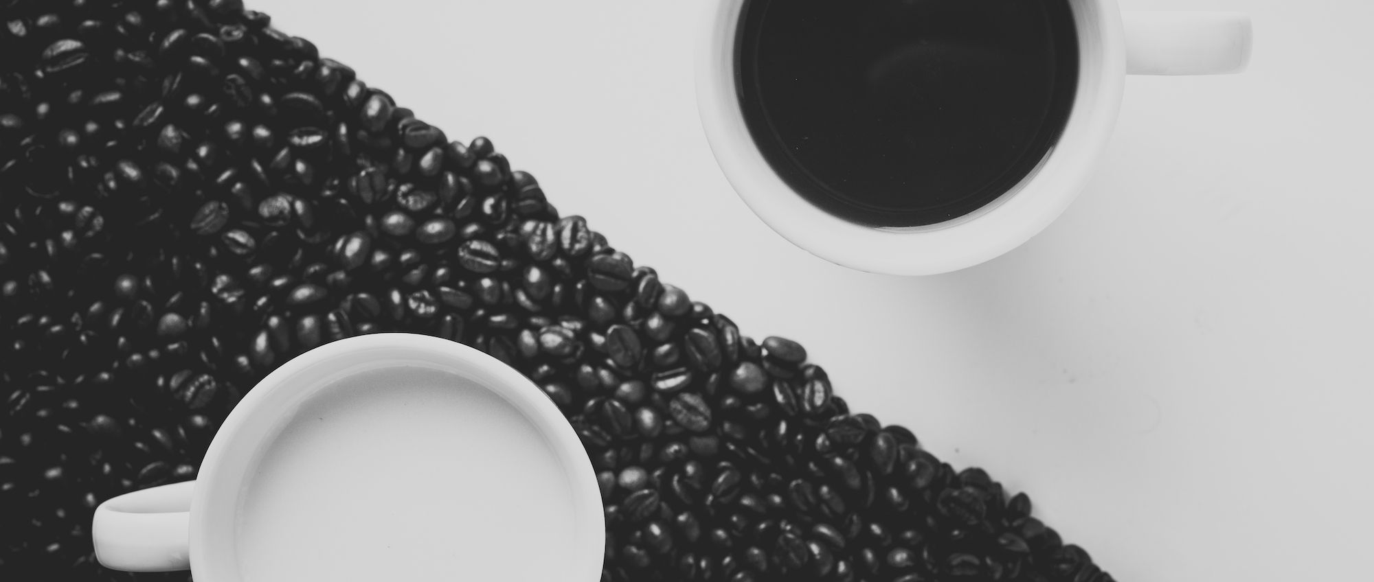 Mugs and coffee beans